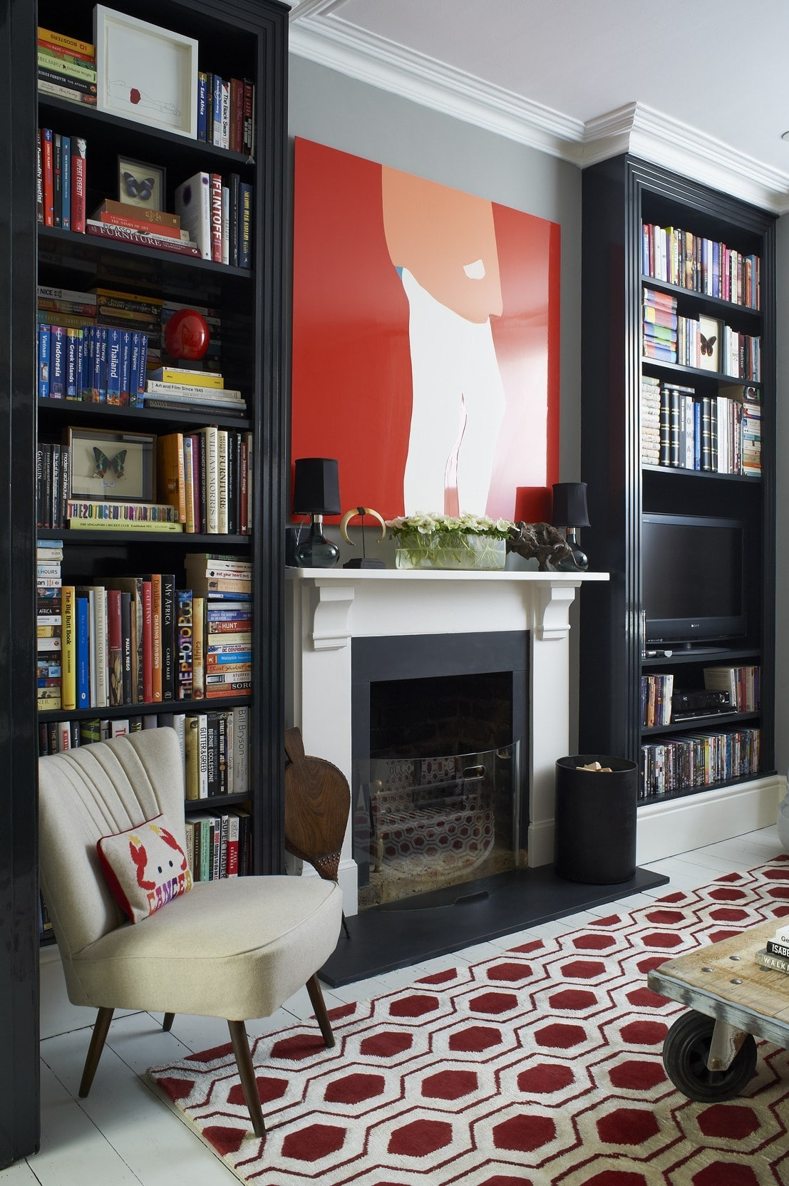 geometric red rug